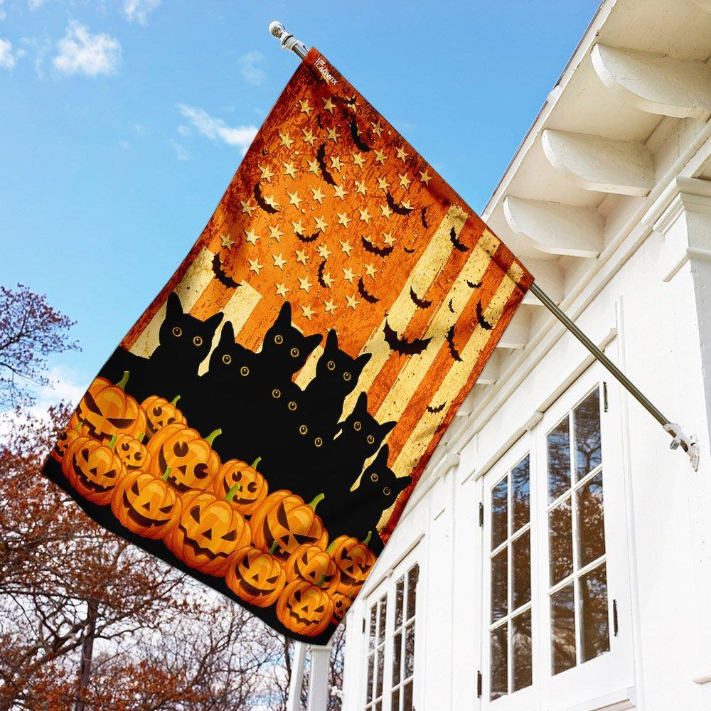 Black Cat and pumpkin Halloween American Flag