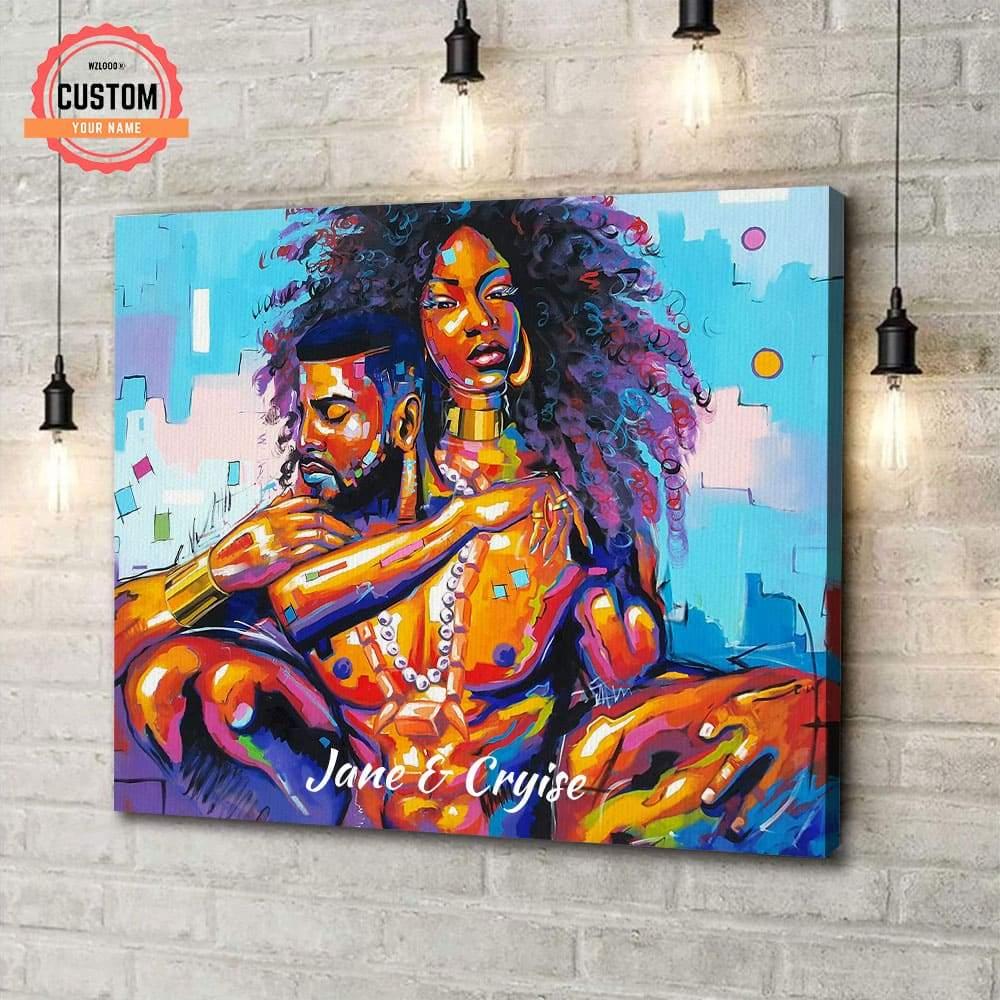 Black Couple Hugging Custom Name Canvas