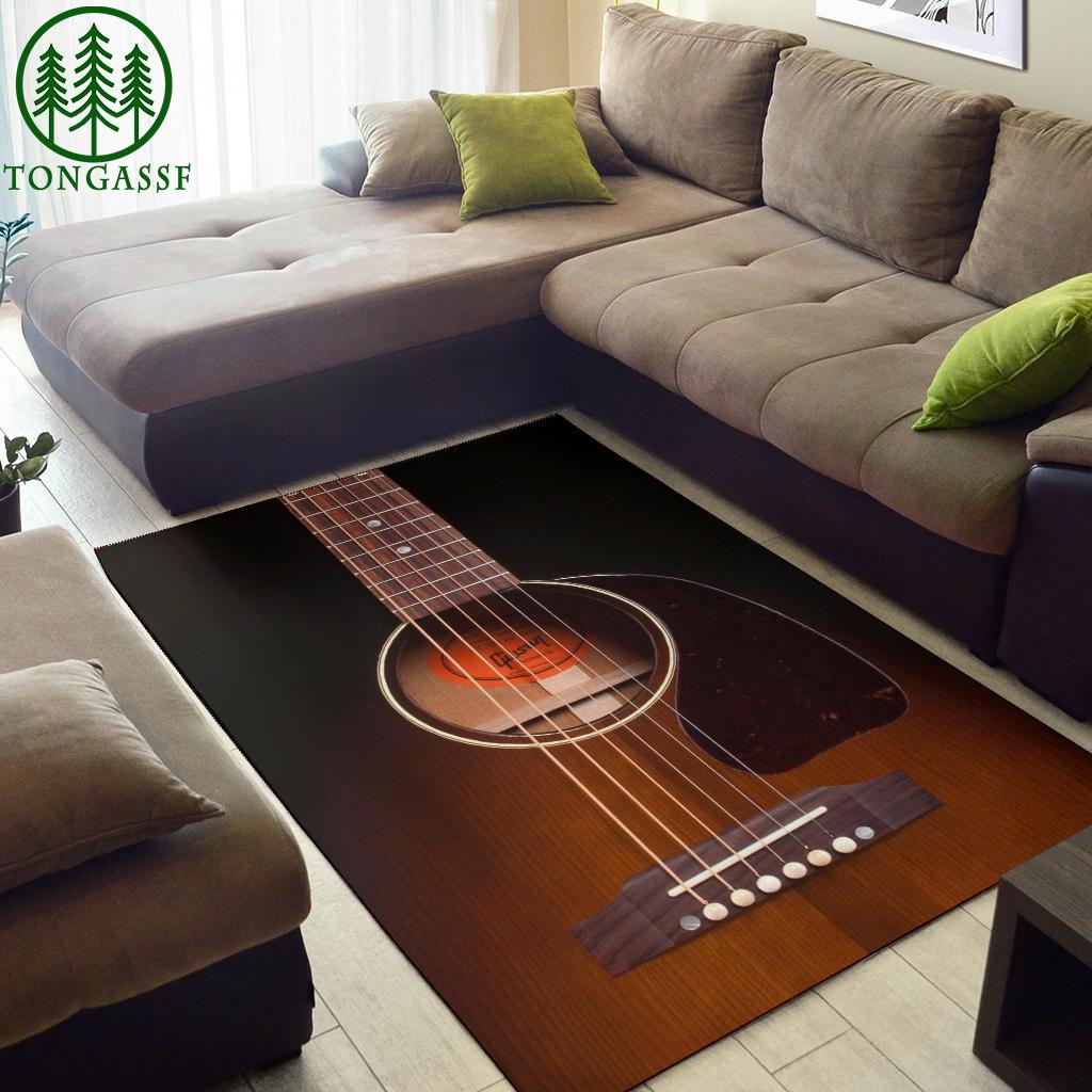 Black Guitar Area Rug