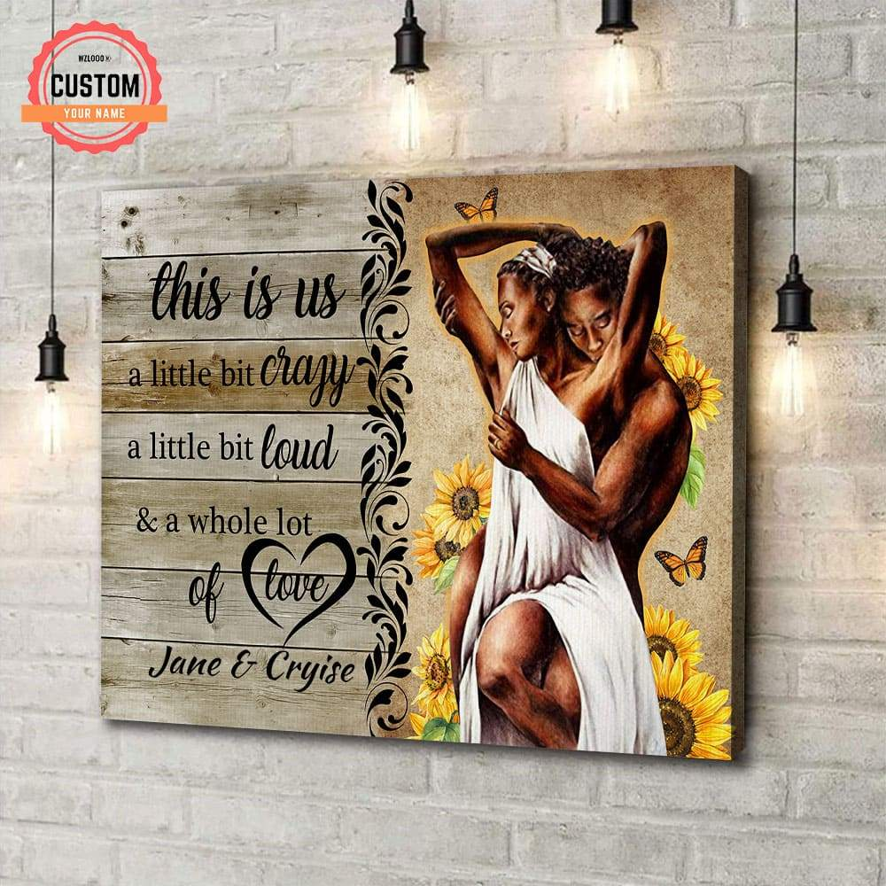 Black King And Queen In Love Custom Name Canvas