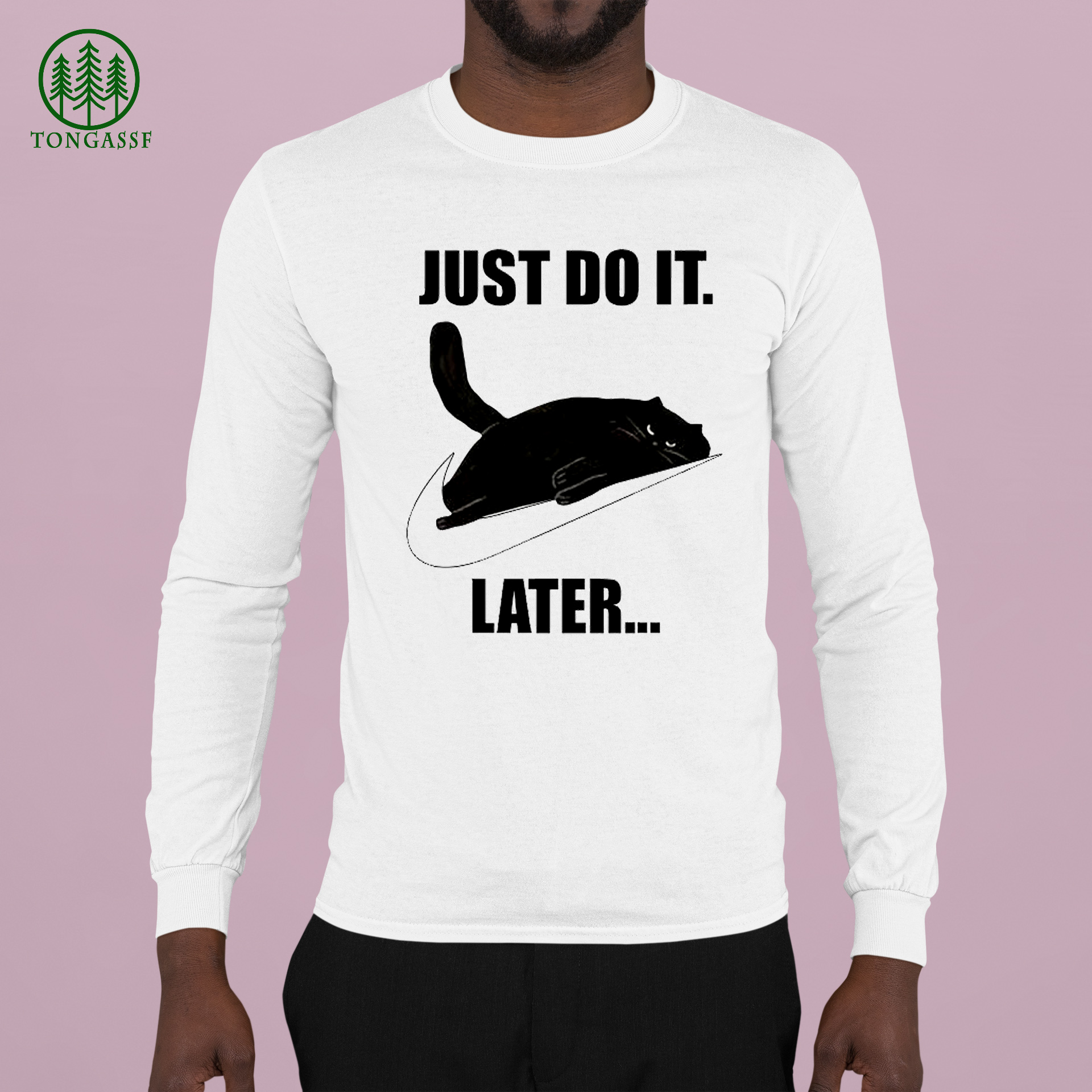 Black lazy cat Just do it later Nike