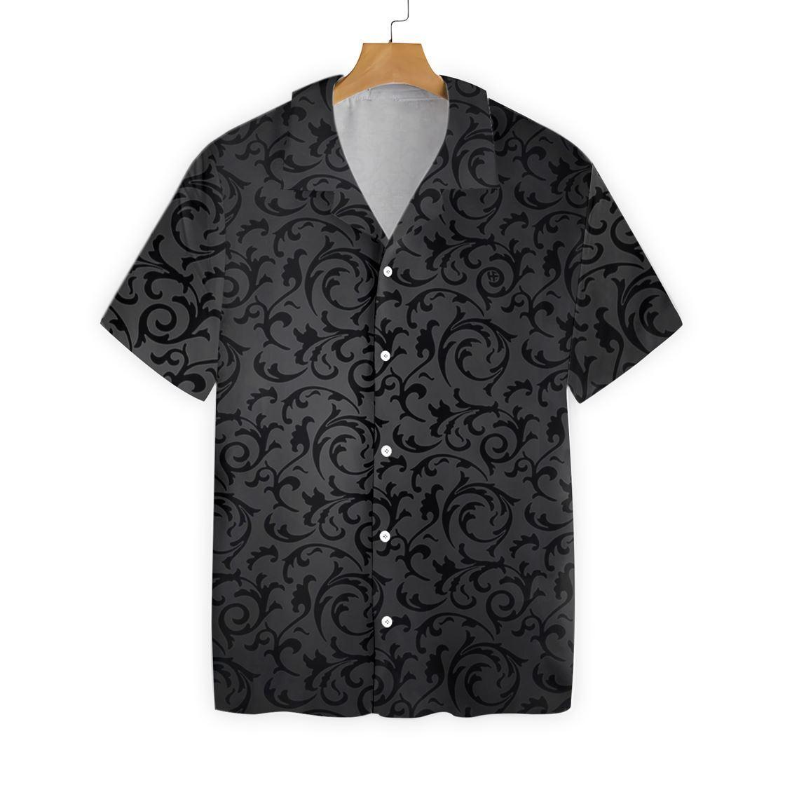 Black And Grey Seamless Floral Goth Style Hawaiian Shirt