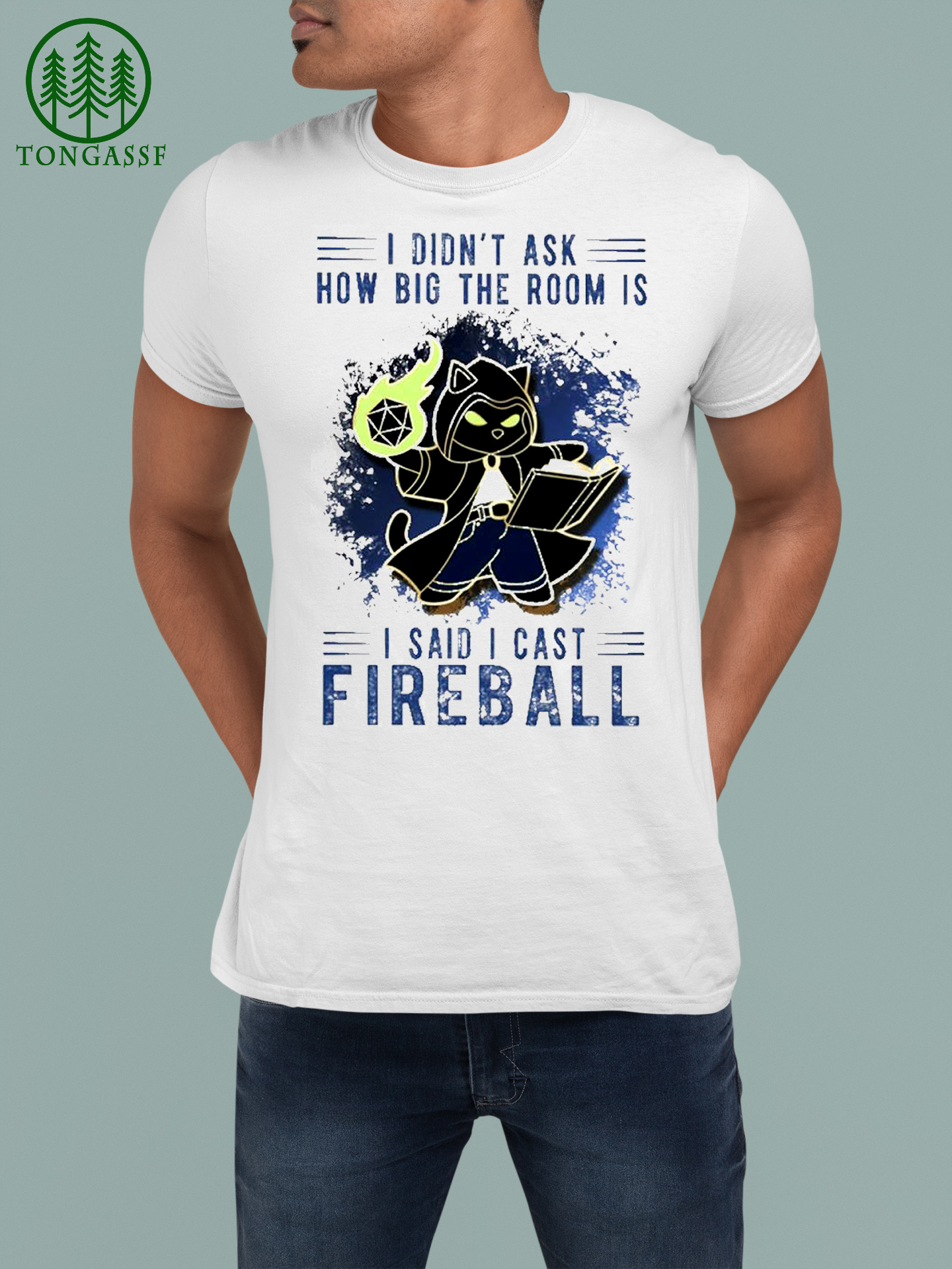Blact cat I didnt ask how big the room Is I said I cast Fireball shirt