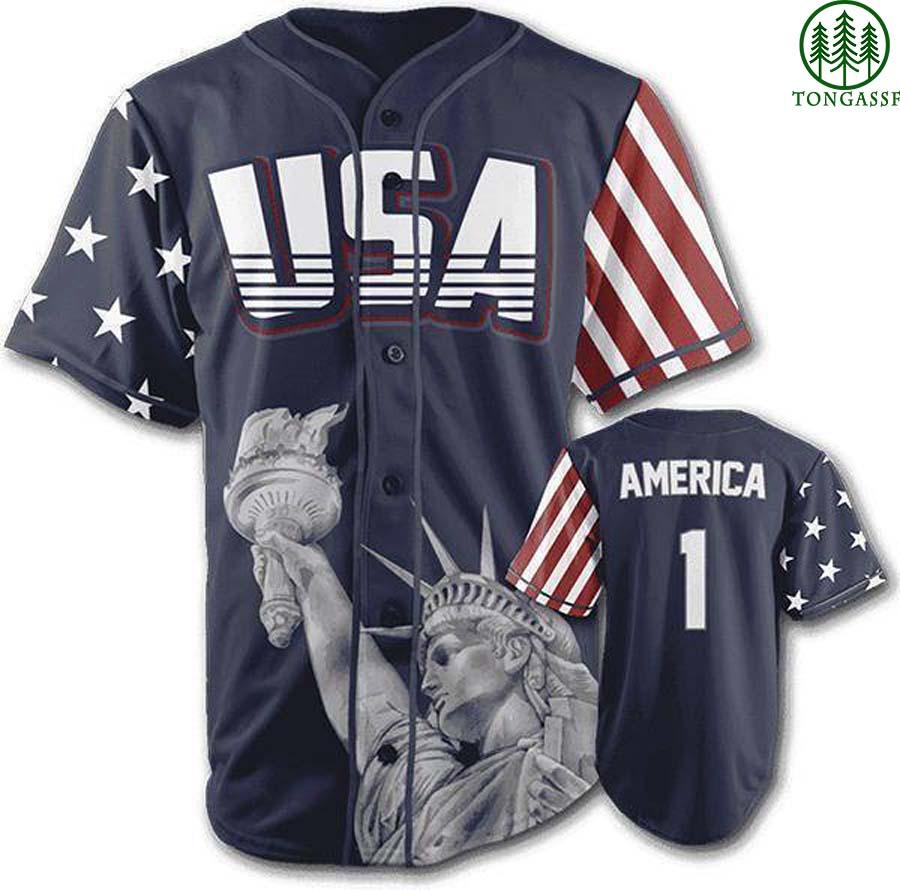 Blue American First Statue of Liberty baseball jersey Shirt