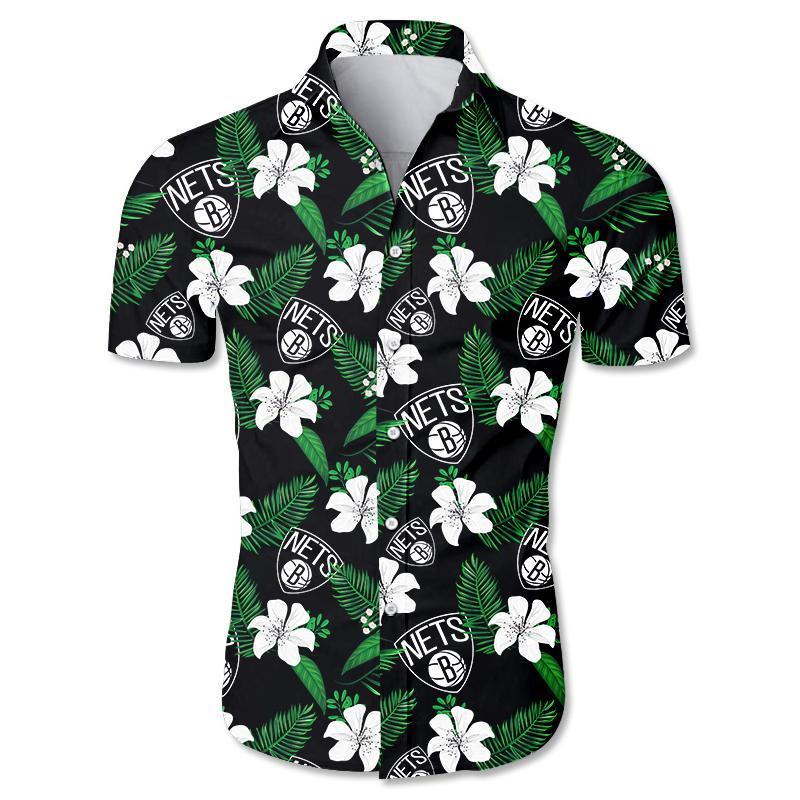 NBA Brooklyn Nets Floral Hawaiian Shirt Small Flowers