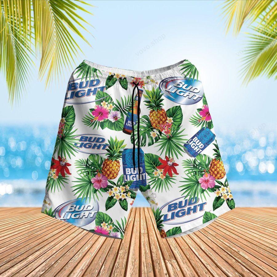 Bud Light Blue Hawaiian Shirt and Beach Shorts