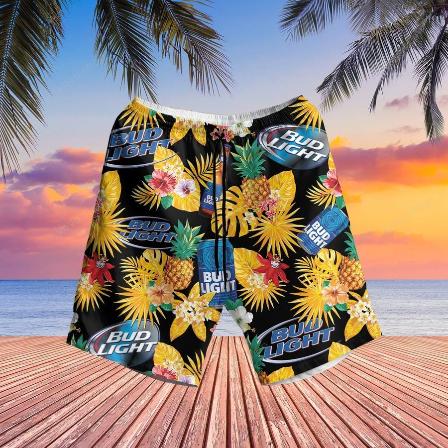 Bud Light Blue pineapple Hawaiian Shirt and Summer Shorts