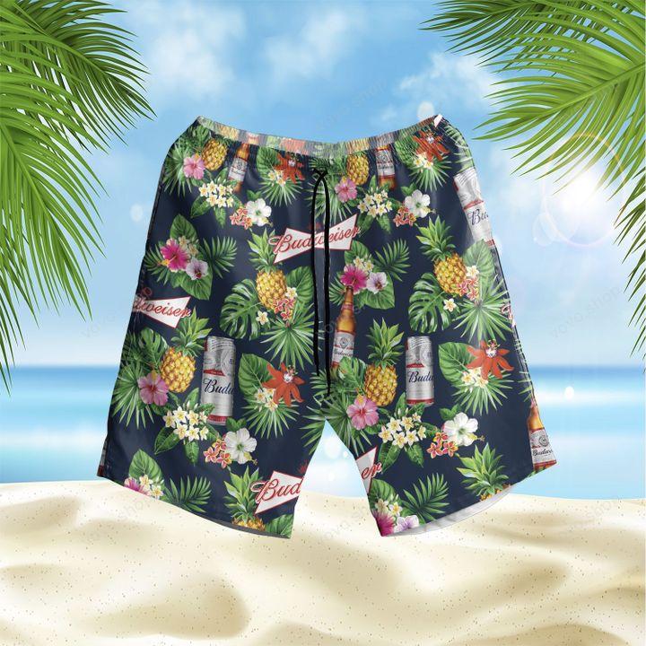 Budweiser beer Floral Hawaiian Shirt and Shorts