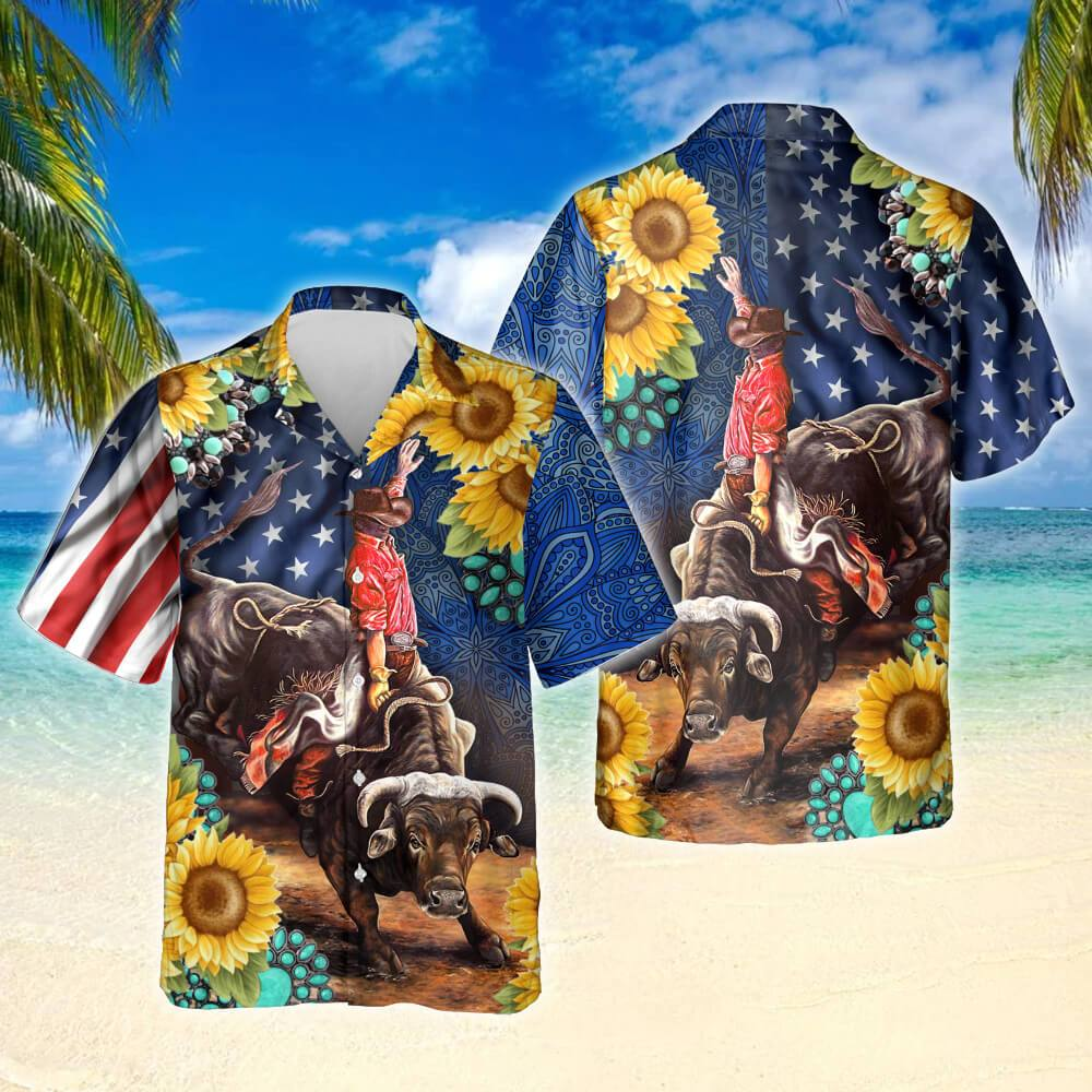 Bull Rodeo Sunflower Hawaiian Shirt
