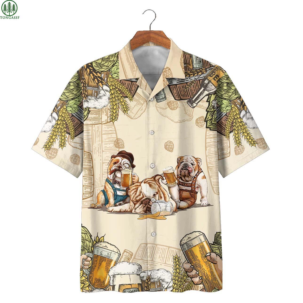 Bulldog Family Beer Hawaiian Shirt