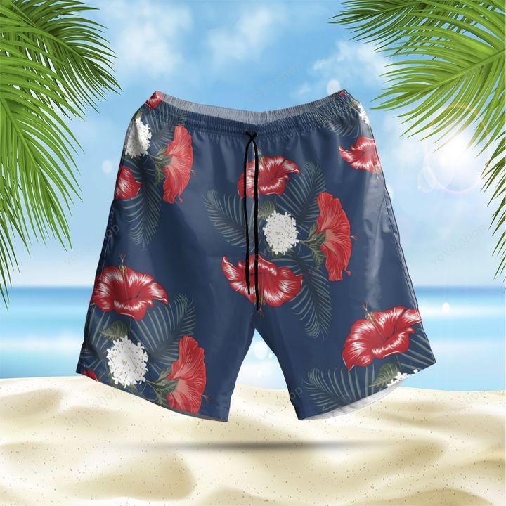 Busch Light Apple Hibiscus Hawaiian Summer Shirt and Shorts