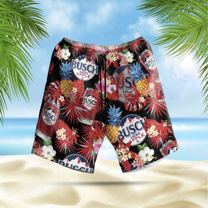 Busch Light Apple Tropical Flower Hawaiian Shirt and Beach Shorts