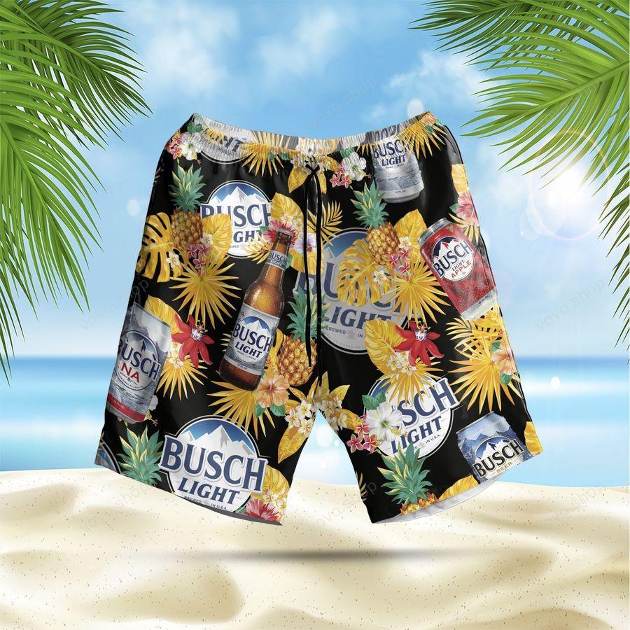 Busch Light Beer pineapple Hawaiian Shirt and Beach Shorts