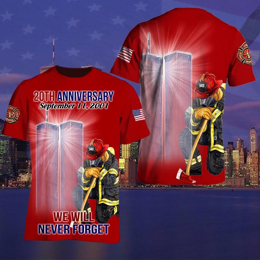 September 11 Attacks Remember Firefighter 3D T shirt