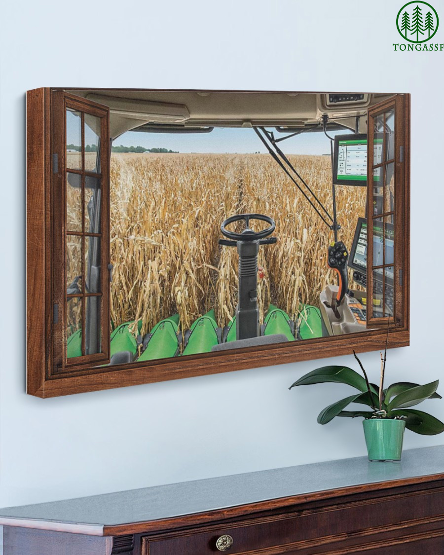 Cabin view in harvest time canvas
