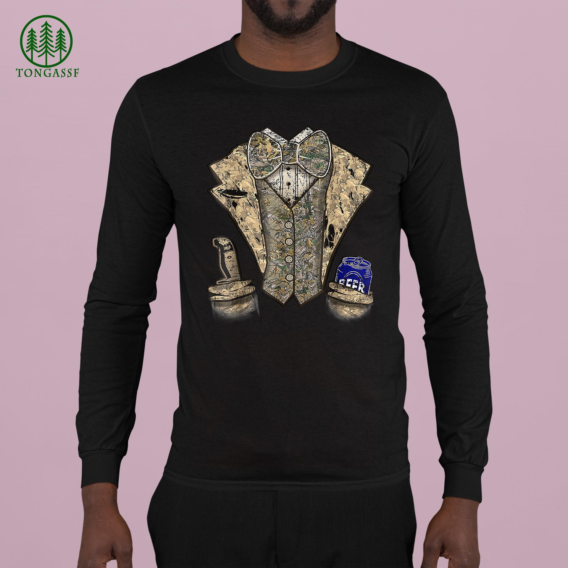 Camo Tuxedo with Bowtie Beer Longsleeve Shirt
