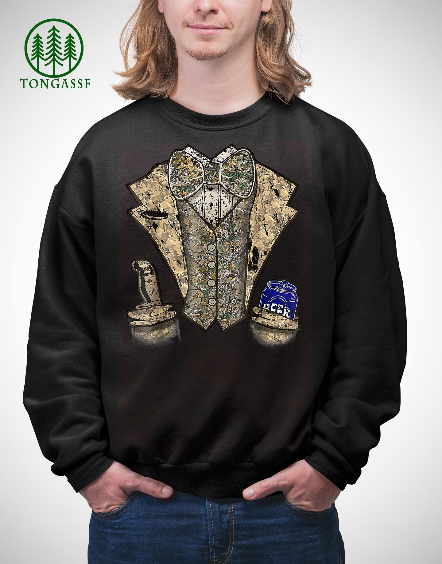 Camo Tuxedo with Bowtie Beer Sweatshirt