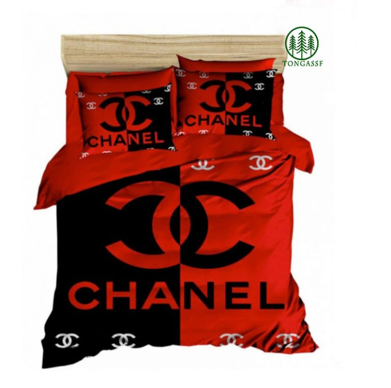 Chanel luxury brand red and black bedding set