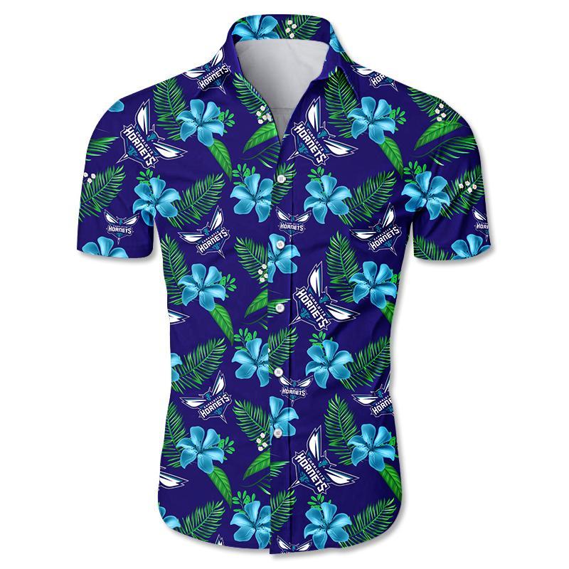 NBA Charlotte Hornets Floral Hawaiian Shirt Small Flowers