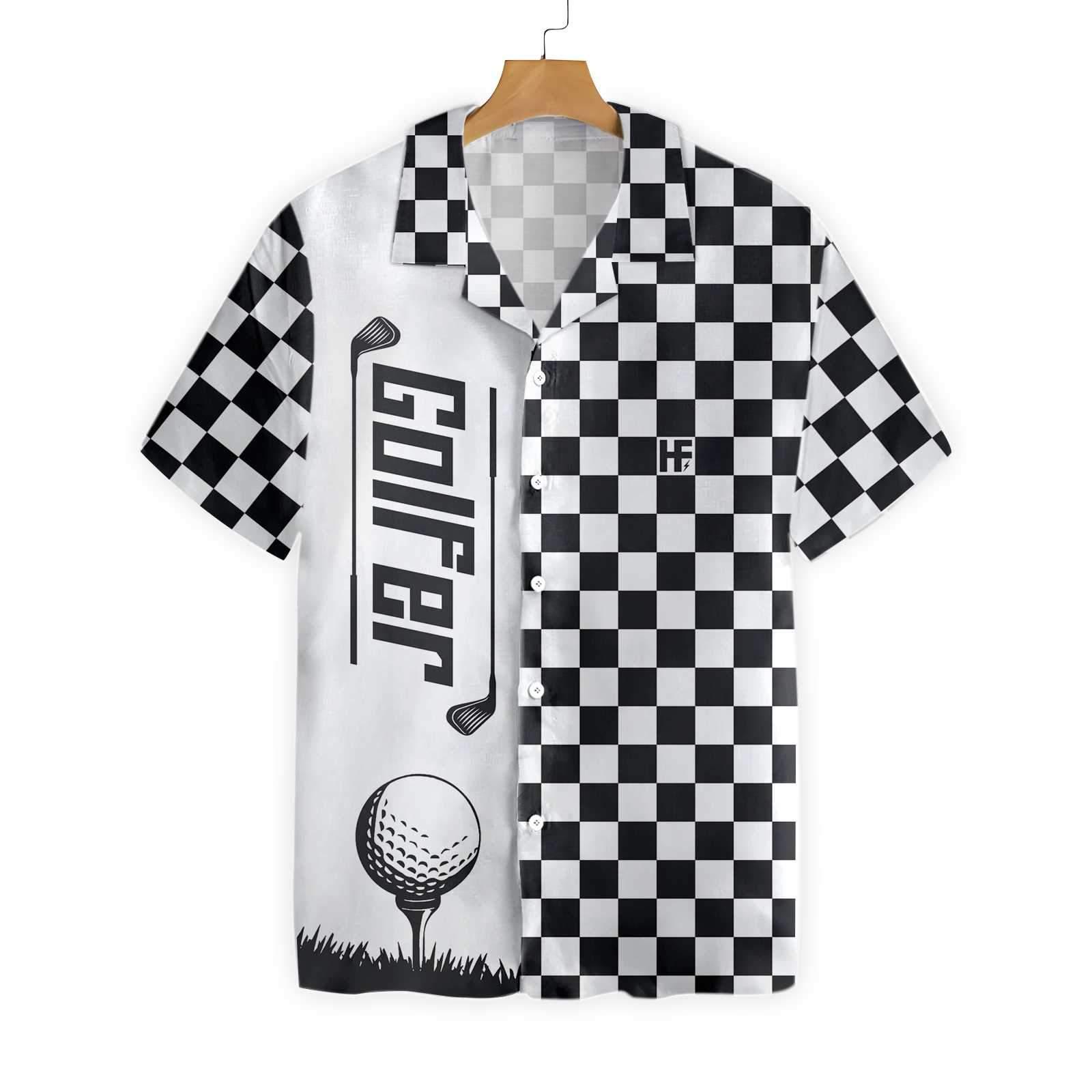 Checkerboard Style Golfer Hawaiian Shirt