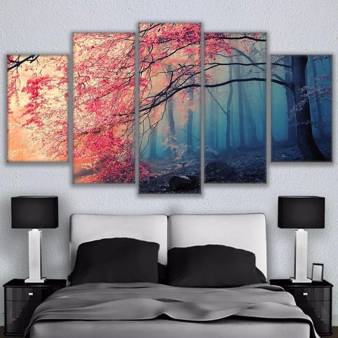 Cherry Blossom Tree 5 Piece Five Panel Canvas Wall Art