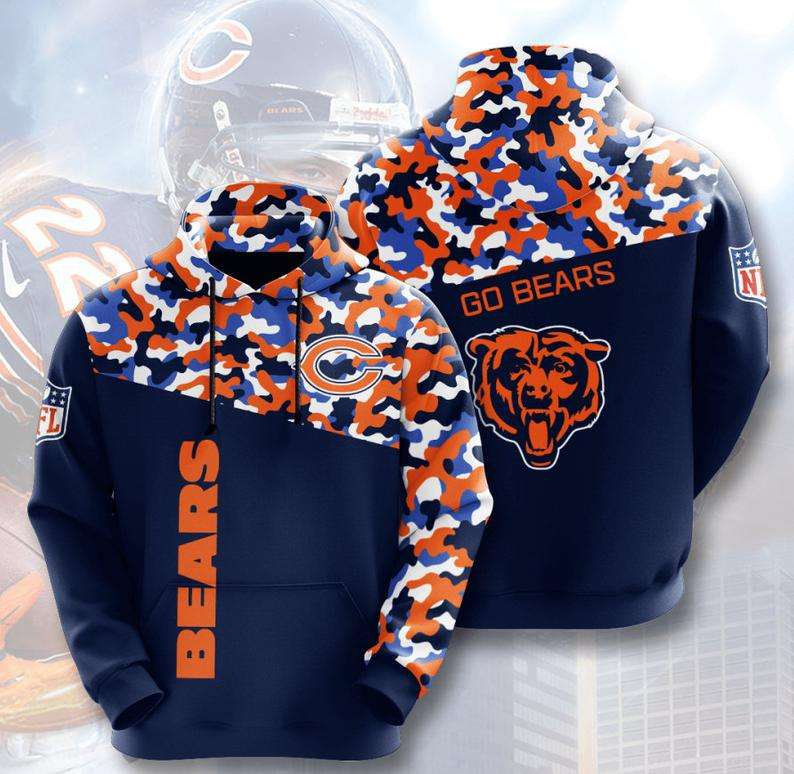 Chicago Bears Camouflage 3D Hoodie
