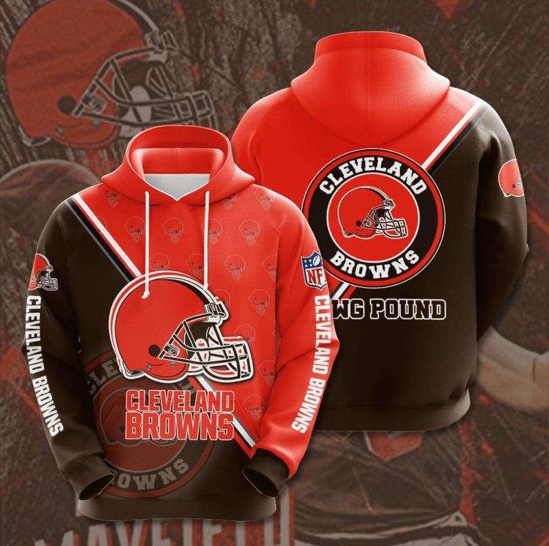 Cleveland Browns NFL Logo 3D Hoodie