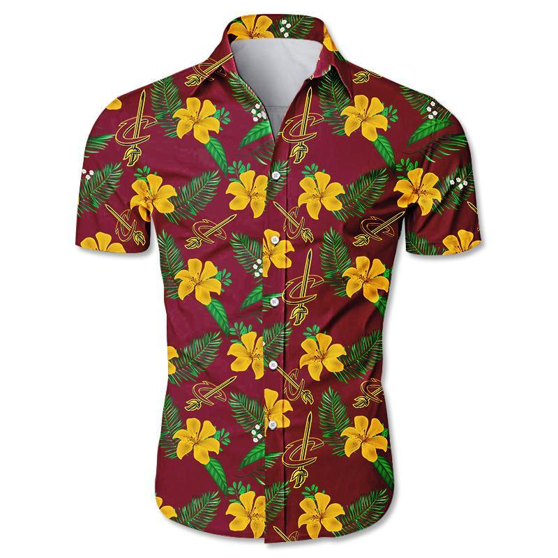 NBA Cleveland Cavaliers Floral Hawaiian Shirt Small Flowers
