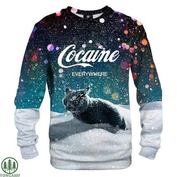 Cocaine Everywhere Snow Cat Sweatshirt