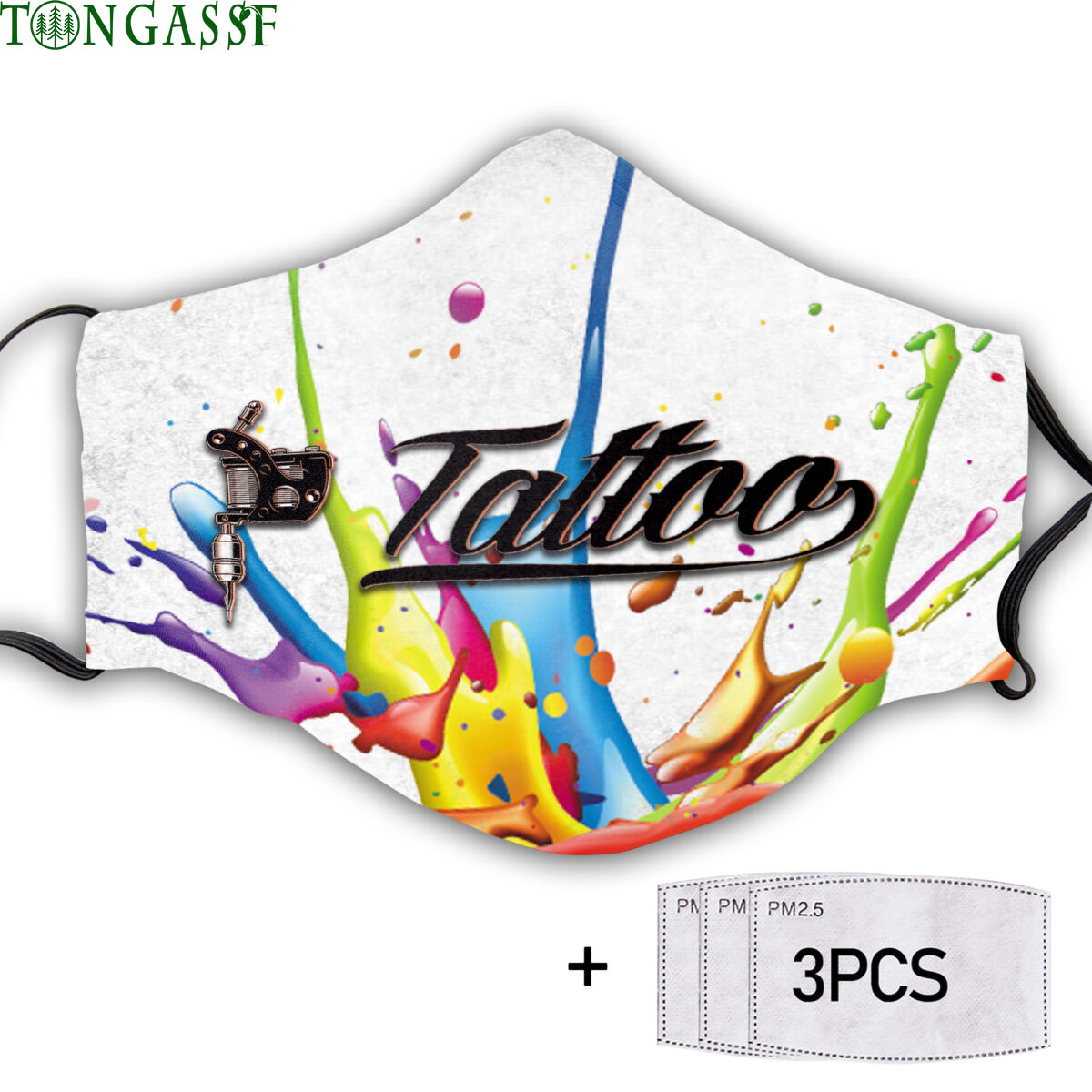 Color water tattoo face mask