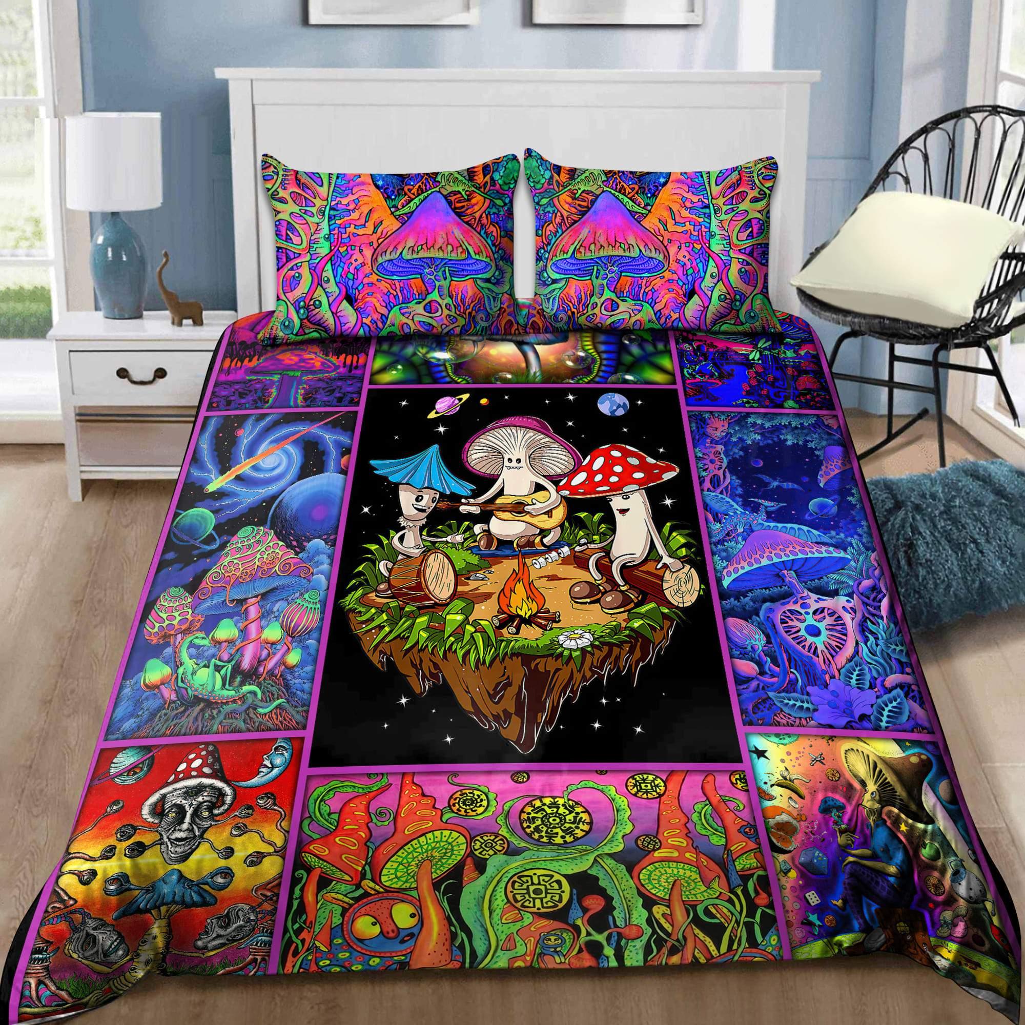 Colorful Mushroom Hippie Bedding Set 3