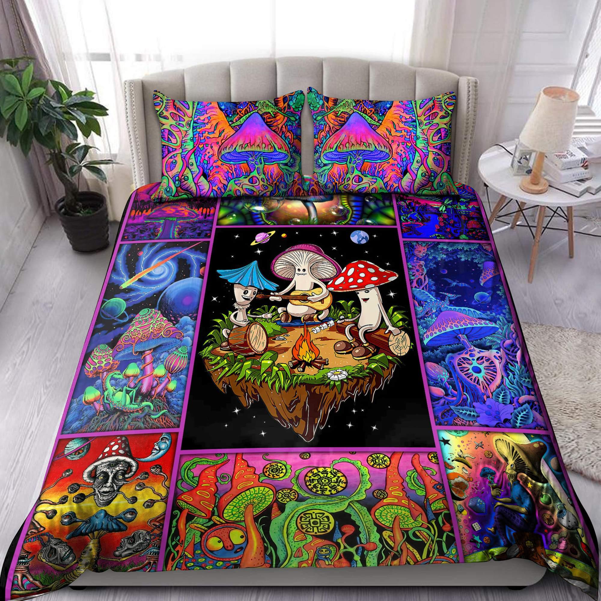 Colorful Mushroom Hippie Bedding Set