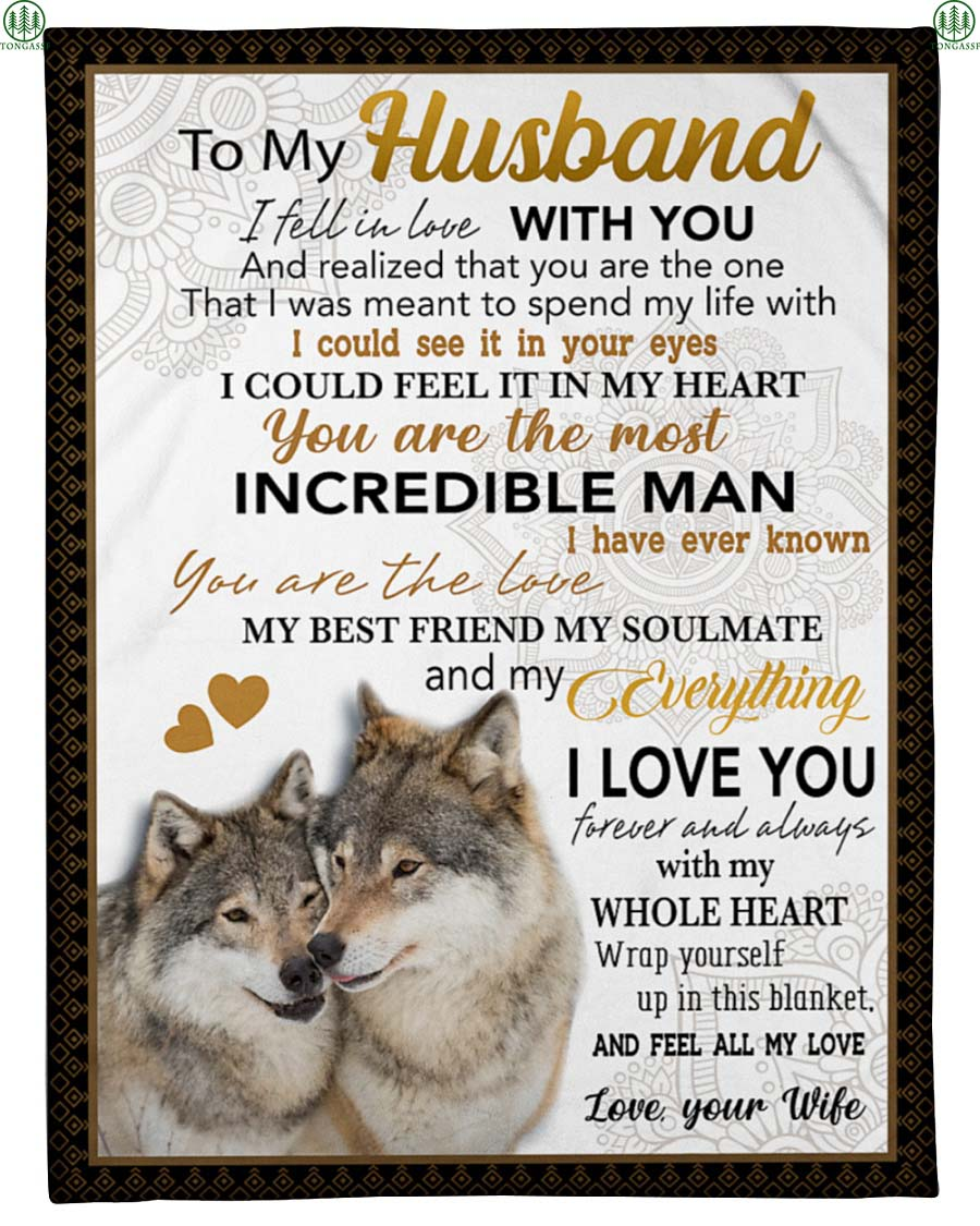 Couple wolf love to my husband blanket