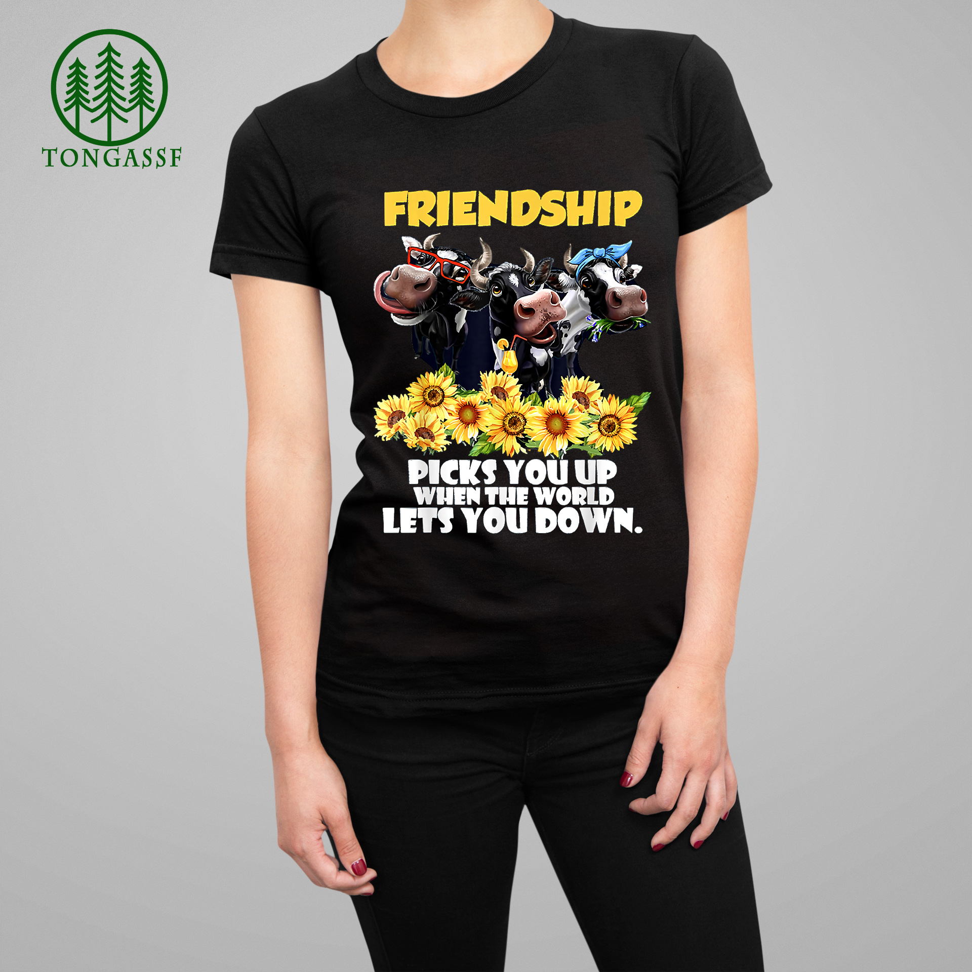 Cow and Sunflowers Friendship T Shirt