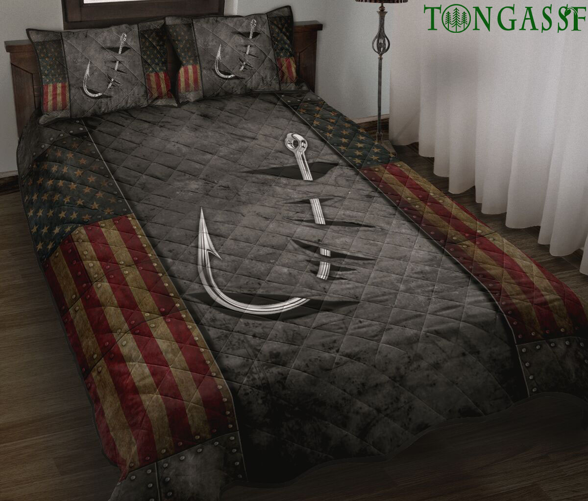 Crack Fishing hook flag Quilt Bed Set and pillow covers