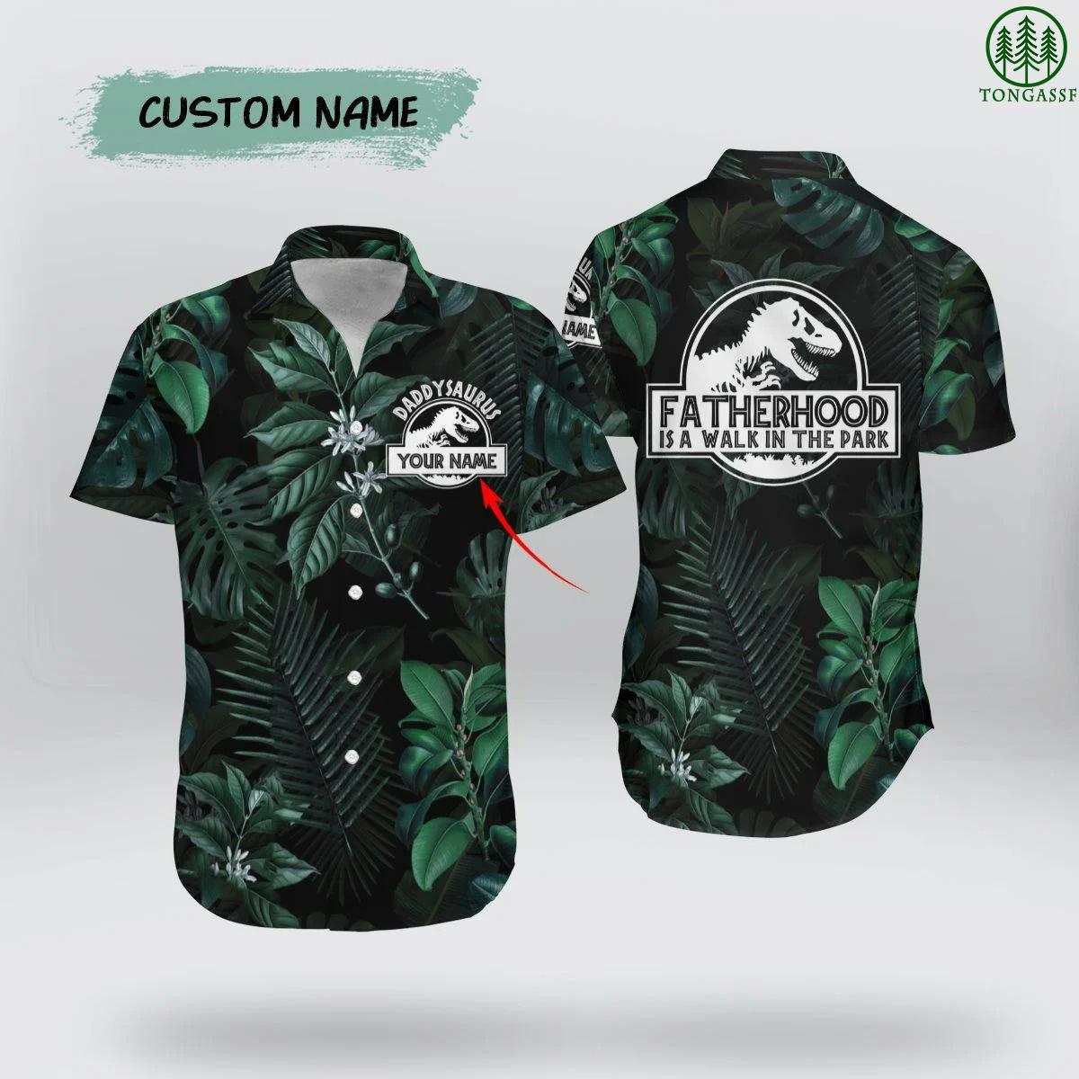 Custom Name DaddySaurus Forest Fatherhood Hawaiian Shirt