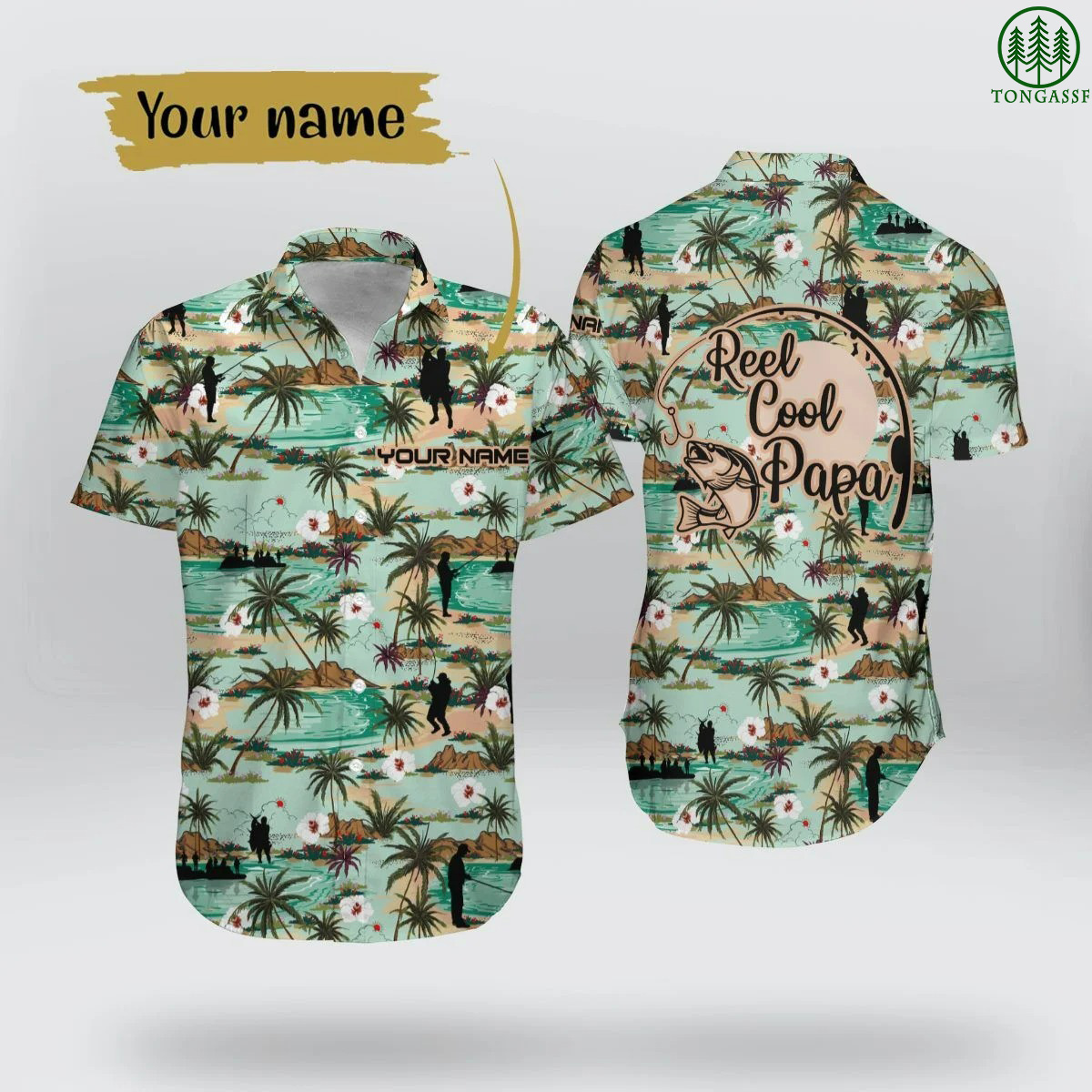 Custom Name Fishing Reel Cool Papa Hawaiian Shirt