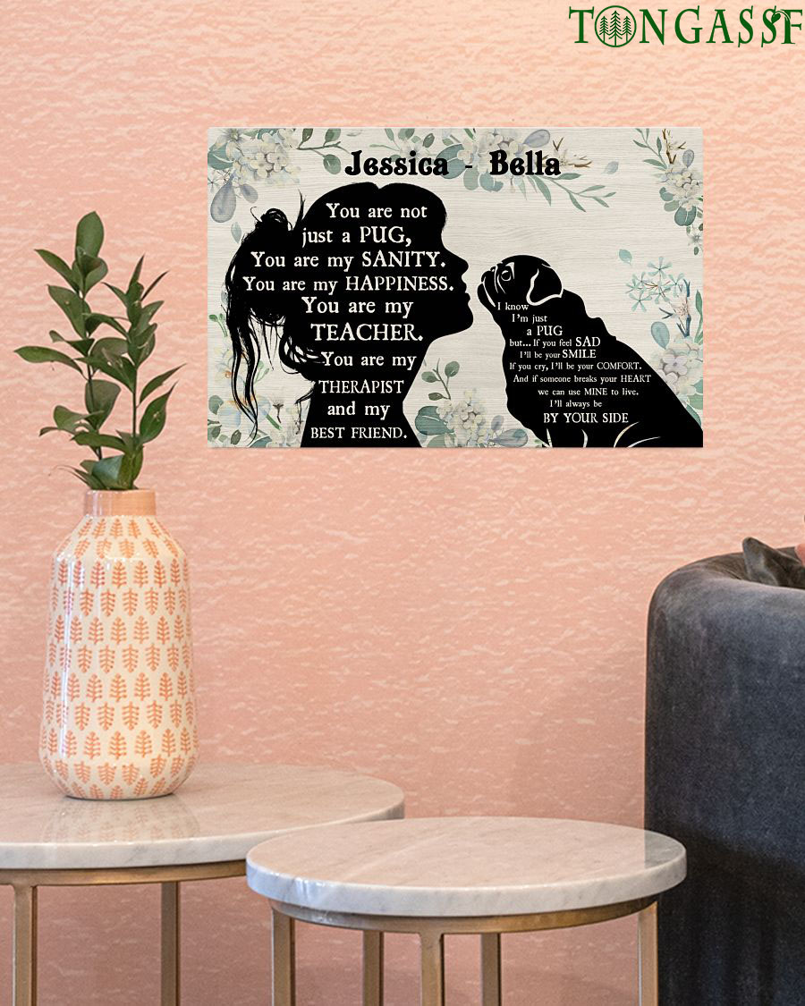 Custom Name Little Girl and pug are best friend poster