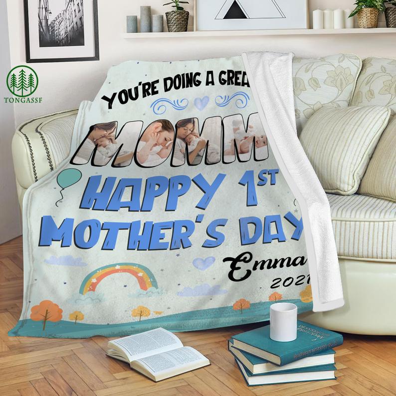 Custom You're Doing A Great Job Mommy Cozy Fleece Blanket