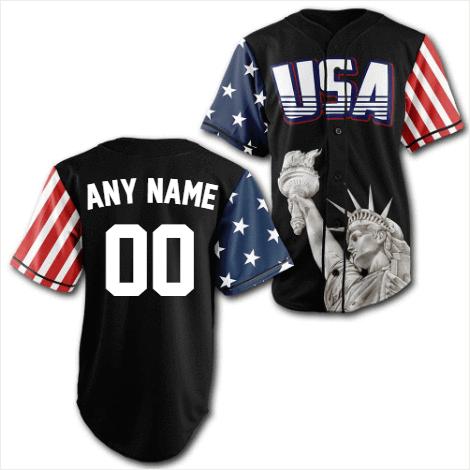 Personalized Black USA Statue of Liberty Baseball Jersey Shirt