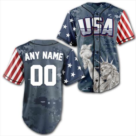 Personalized Blue Camo America Statue of Liberty Baseball Jersey Shirt
