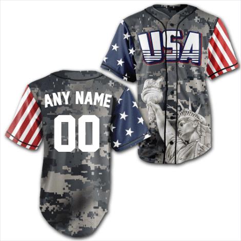 Personalized Camo America Statue of Liberty Baseball Jersey Shirt