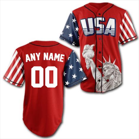 Personalized Red USA Statue of Liberty Baseball Jersey Shirt