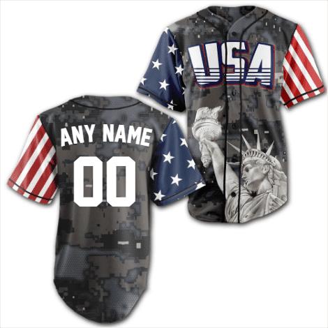 Personalized Steel Camo Statue of Liberty America Baseball Jersey Shirt