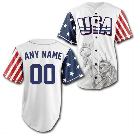 Personalized White USA Statue of Liberty Baseball Jersey Shirt