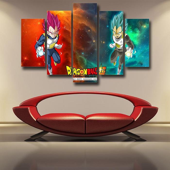 DBS Duel Vegeta Super Saiyan God Blue Canvas 5 panel Wall Art