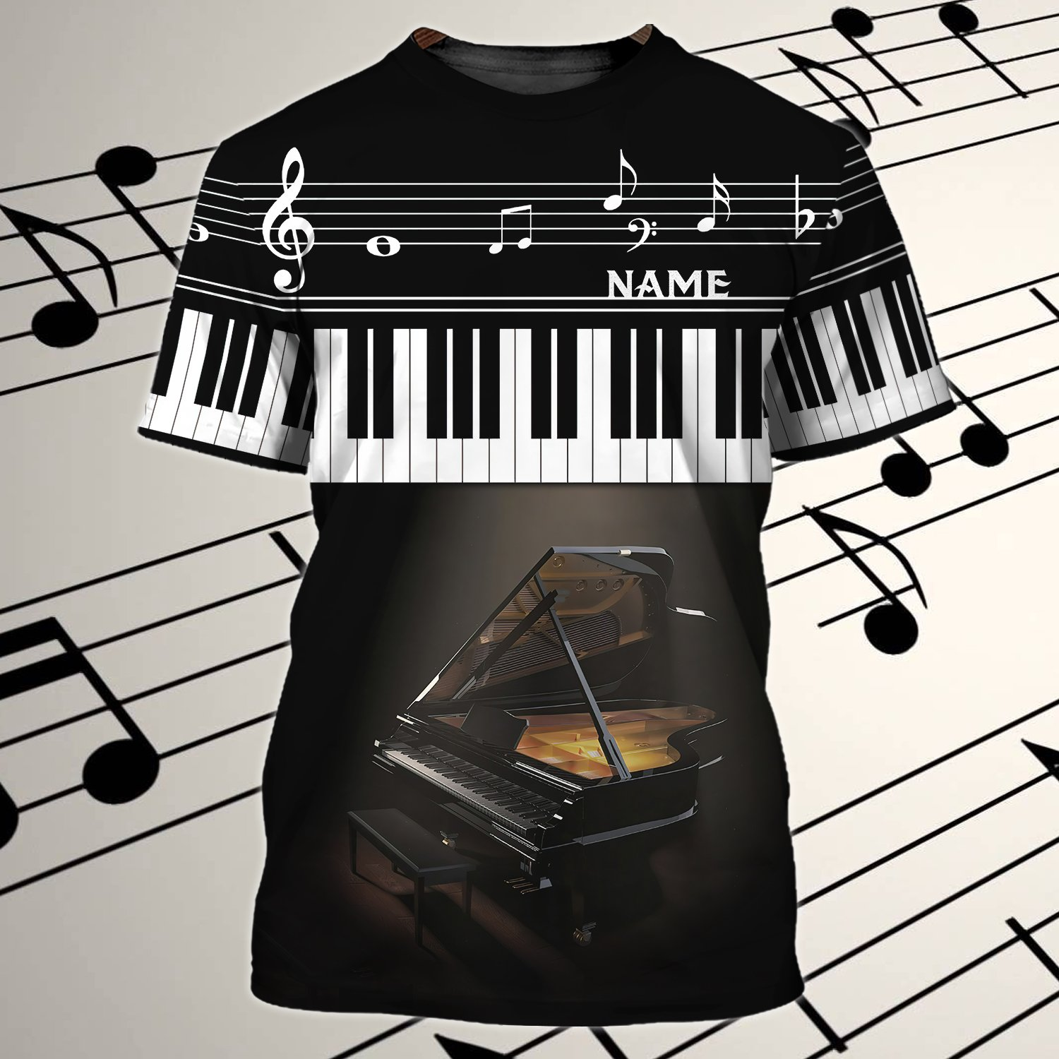 PIANO Table Personalized Name 3D Tshirt
