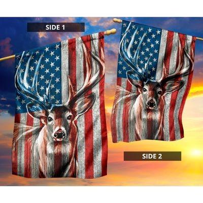 Deer hunting USA flag