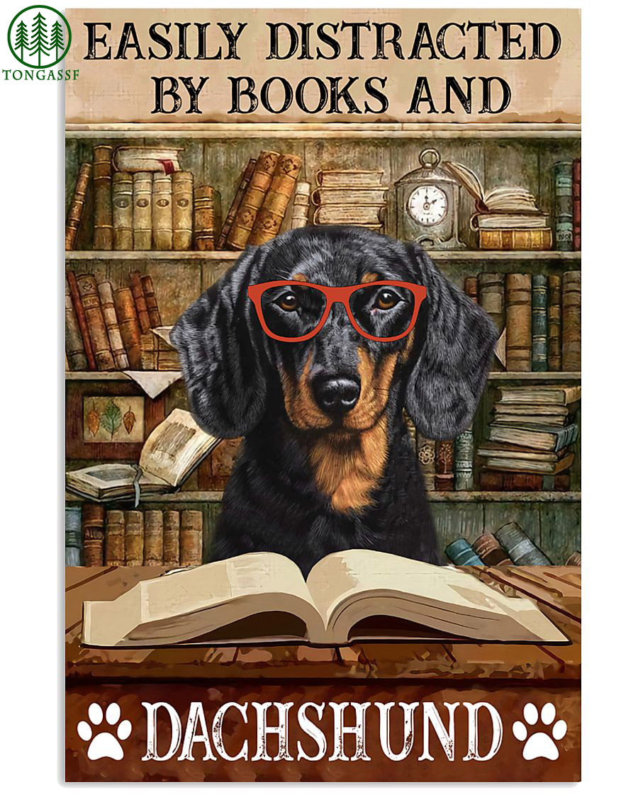 Dog Dachshund easily distracted by book poster
