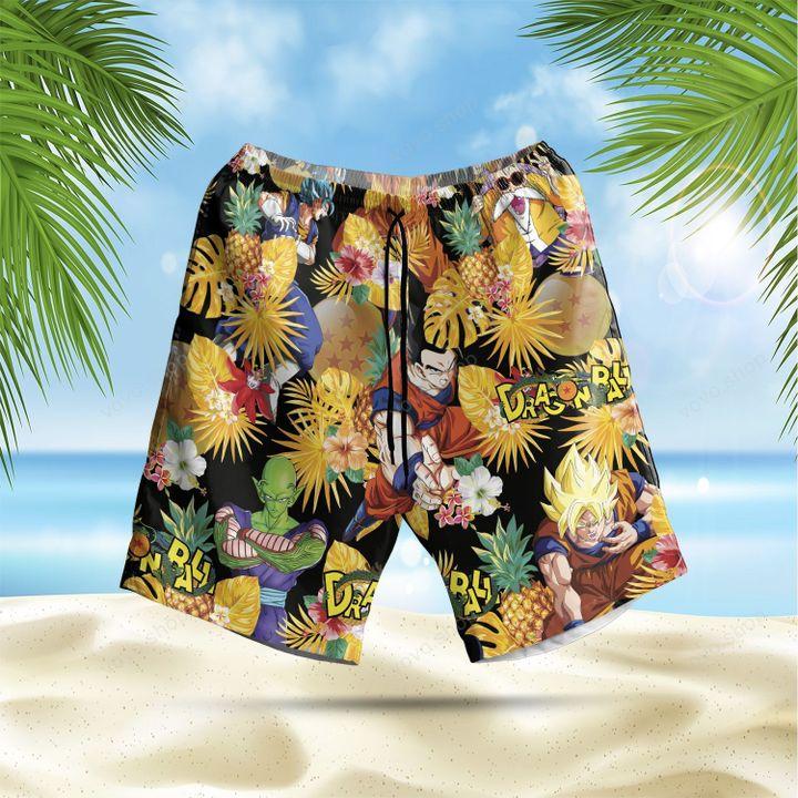 Dragon Ball pineapple floral Hawaiian Shirt and Summer Shorts